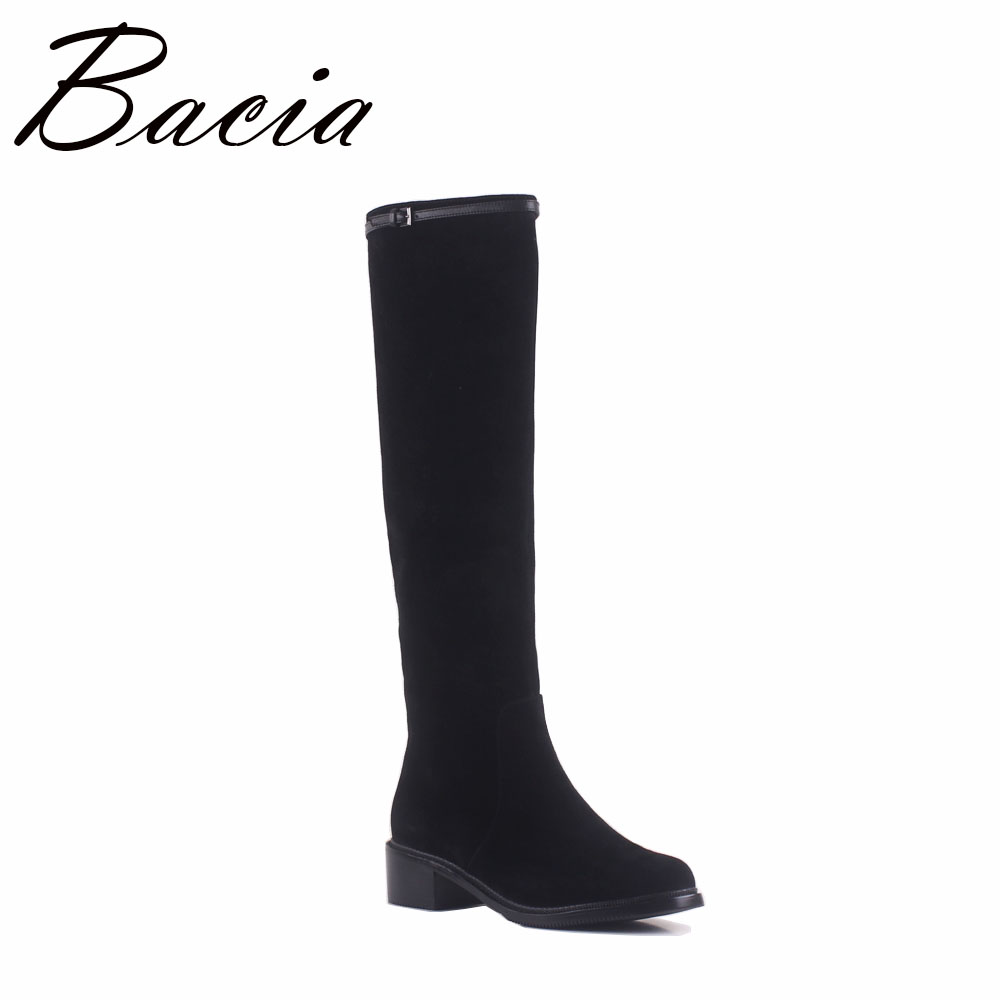 Bacia moda estilo otoño rodilla botas altas cuero mujer alta calidad oveja gamuza mujeres botas Sexy señoras negro zapatos SA049