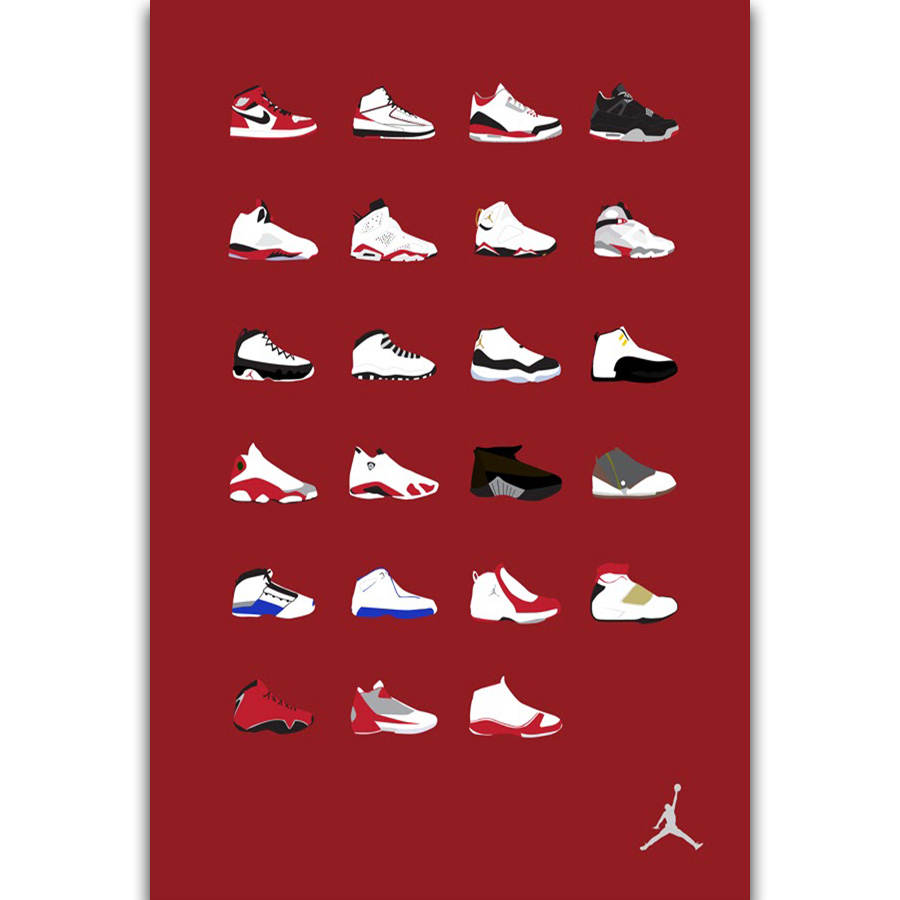 d54cc62b4ee4f9 S2672 Michael Jordan Shoes Sneaker Fashion History Wall Art Painting Print  On Silk Canvas Poster Home Decoration