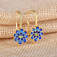 2018 Trendy Blue Enamel Hook Earrings Gold Silver Color Almei Cloisonne Blue Flower Earring For Girl Women Jewellery Gift(China)