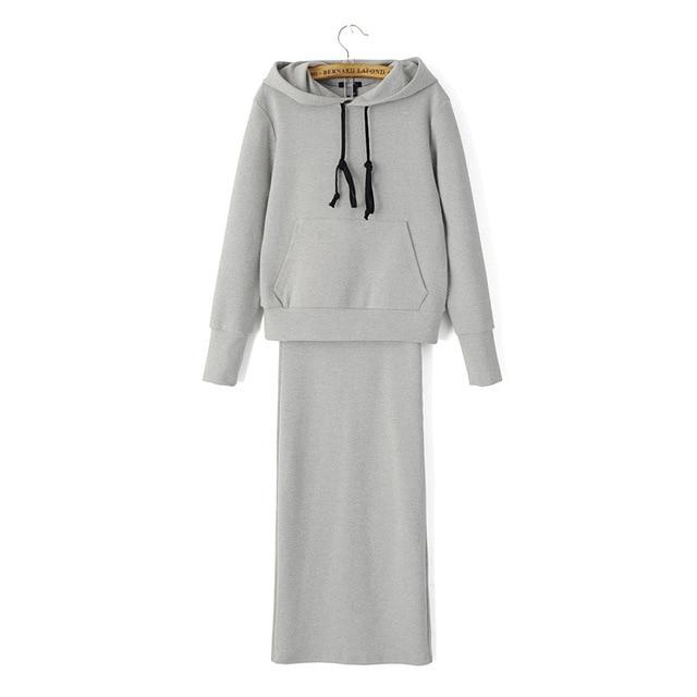 2016 النساء ملابس رياضية جديدة نقية اللون الكامل غطاء بعد رسم سلسلة الصوف + سبليت تنورة الزي