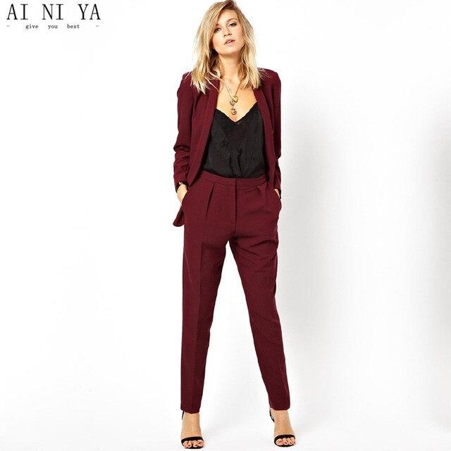 New Blazer Ol Work To Wear Formal Jacket Pants Suit Women Business Burgundy Office Uniform Las