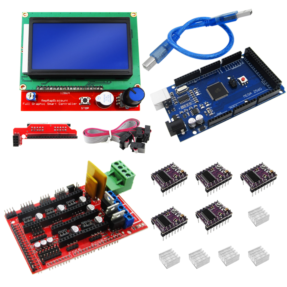 3D Printer kit 1pcs Mega 2560 R3 + 1pcs RAMPS 1.4 Controller+ 5pcs DRV8825 Stepper Motor Drive + 1pcs LCD 12864 controller anycubic 3d printer accessories stepstick drv8825 stepper motor driver 4 pcb board drive carrier ramps replace a4988