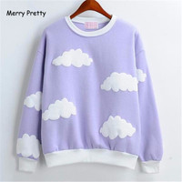Autumn And Winter Women Style 2016 Korean New Long SleeveHarajuku Cute 3D Clouds Hedging Thick Round