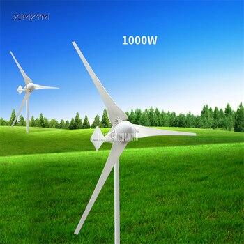 Generador de energía eólica de 3 cuchillas DC24V/48 V aleación de aluminio de 1000 W + generador de energía eólica de nailon para el hogar equipo eléctrico Z-1000