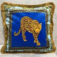 Estilo europeu de Luxo Leopardo Tigre Leão Animais Padrão Sofá Almofadas Decorativas Capa de Almofada Home Decor