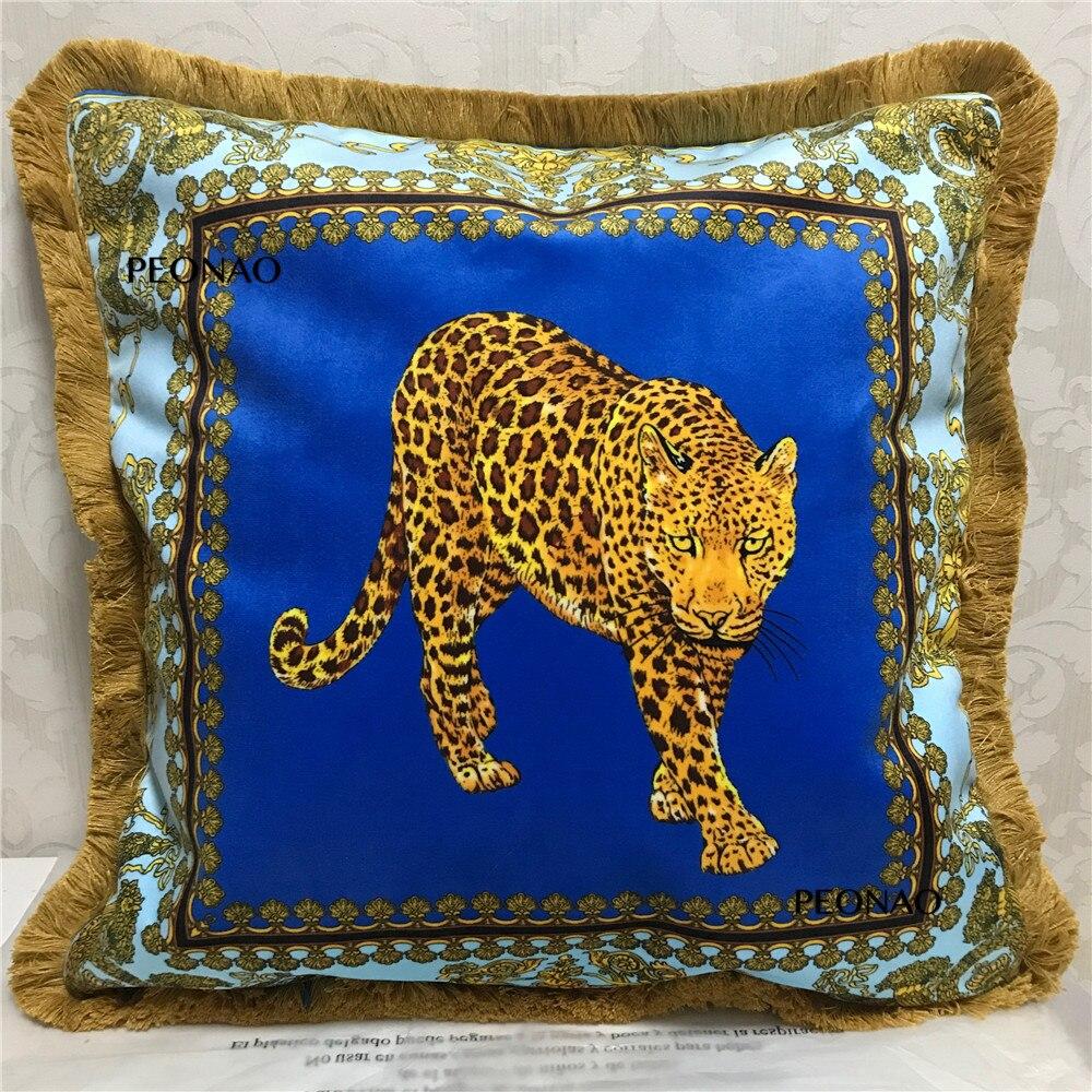 European Style Luxury Tiger Leopard Animal Lion Pattern Sofa Decorative Throw Pillows Cushion Cover Home Decor