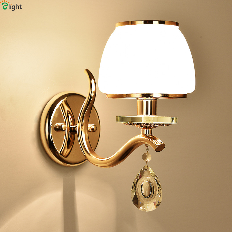Modern Gold Metal Led Wall Lamp Lustre Crystal Bedroom Led Wall Lights Fixtures Glass Foyer Led Wall Light Corridor Wall Sconce hallway wall lights led crystal wall lamp led bedside lamp bedroom crystal wall sconce gold modern crystal wall sconces lighting