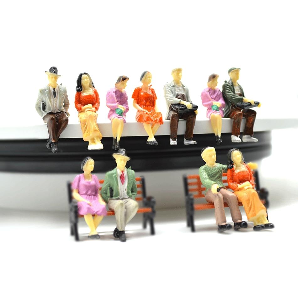 1/30 escala modelo de arquitetura selados figura, brinquedos, construção em miniatura, todas as pessoas sentadas para diorama, rua, fazendo