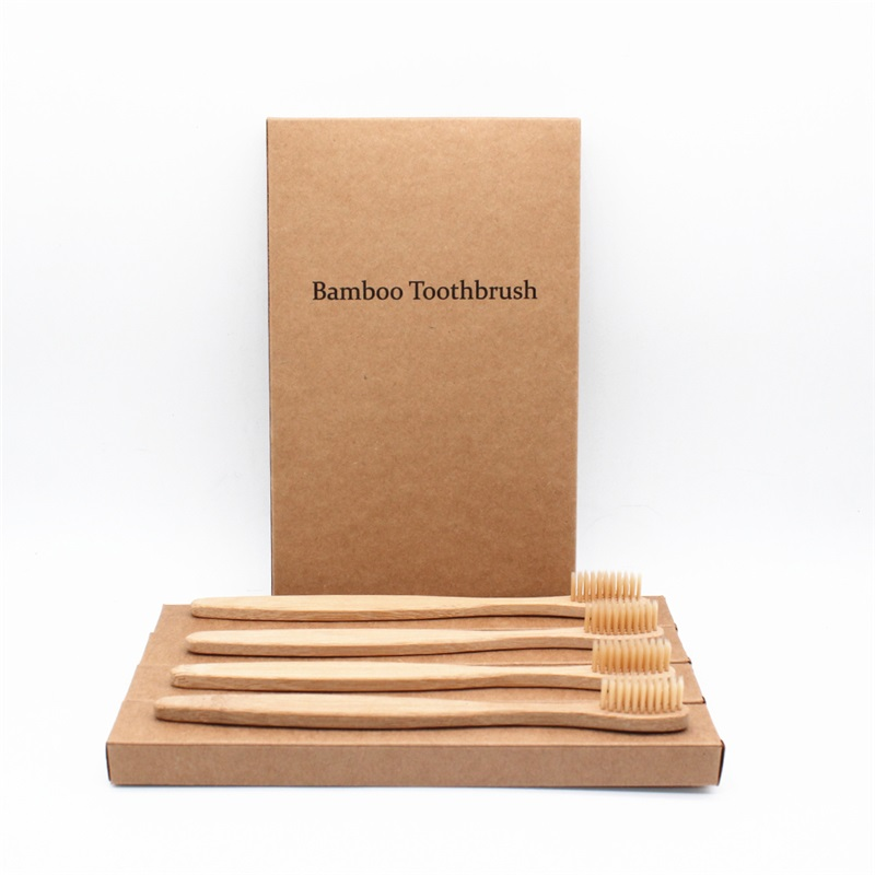 4 PCS Colorful Bristles Head Bamboo Toothbrush Wholesale Environment Wooden Rainbow Bamboo Toothbrush Oral Care Soft Bristle