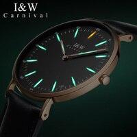 Я & W T25 Тритий световой Кварцевые часы Для мужчин карнавал ультра тонкий Водонепроницаемый Для мужчин s часы Новый 2018 мужской часы relogio masculino