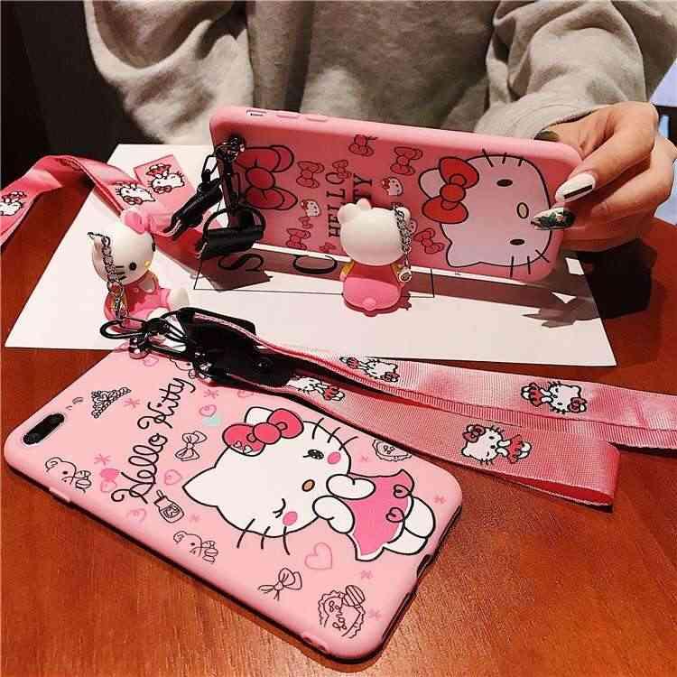 3D Bonito Olá Kitty Caso Ouvido para Xiaomi 8 UM 1 2 Lite Brinquedo Dos Desenhos Animados Alça de Pulso Macio TPU Capa para Redmi nota 7 6 5 4 3 UM X pro S2