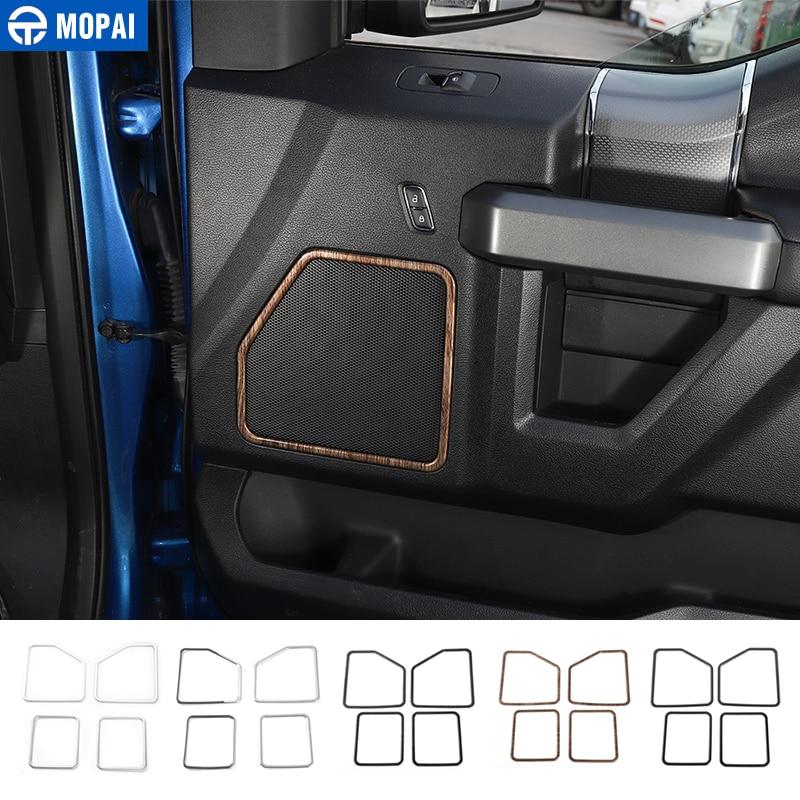 MOPAI ABS Car Interior Door Loudspeaker Speaker Decoration Ring Frame Cover Stickers For Ford F150 2015