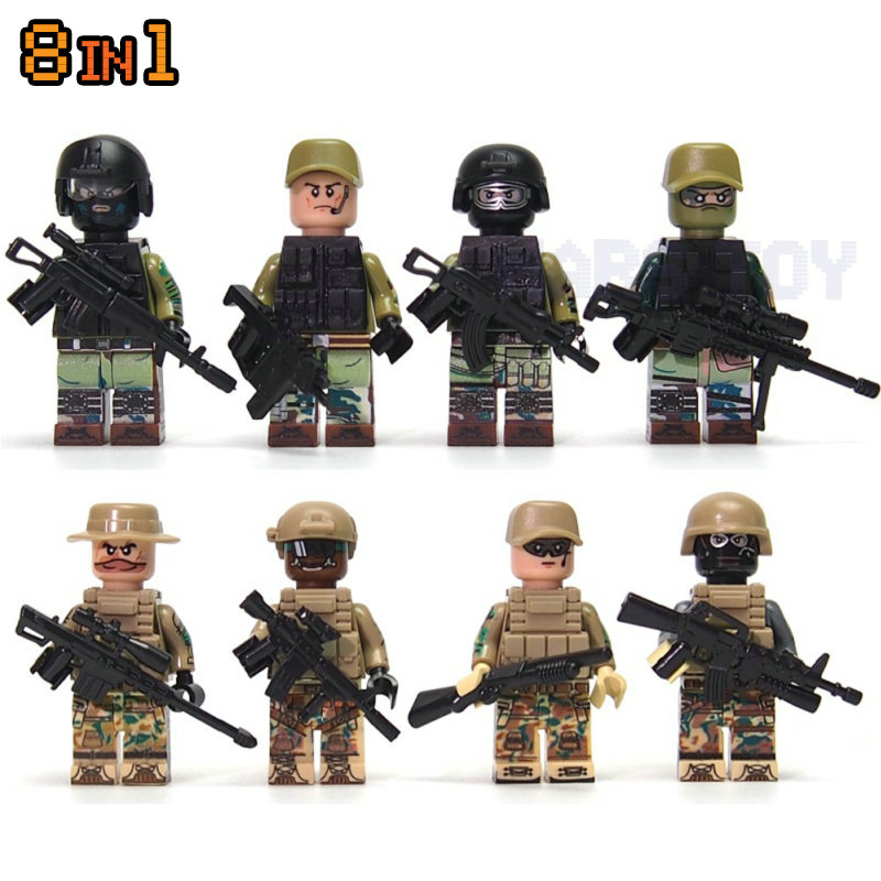 HOT Sale 8IN1 CS Commando Camouflag Soldiers Army Action Figures Sets Compatible LegoINGlys Blocks Toys Swat Team Guns Weapon guerre moderne lego