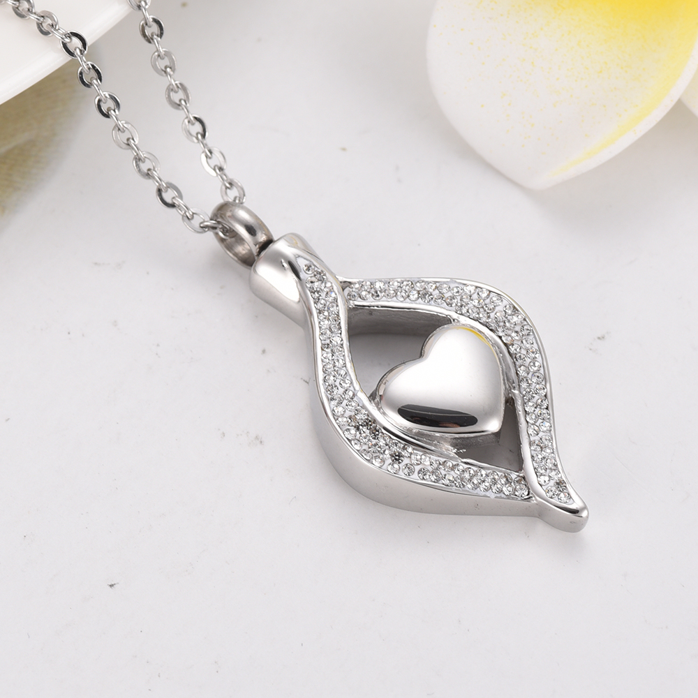 IJD9240 Stainless Steel Crystal Teardrop Heart Cremation Urn Pendant Memorial Necklace For Women Ashes Holder Keepsake Jewelry klh9359 dog tag stype my fur angel pet urn necklace for ashes memorial keepsake cremation pendant funnel gift