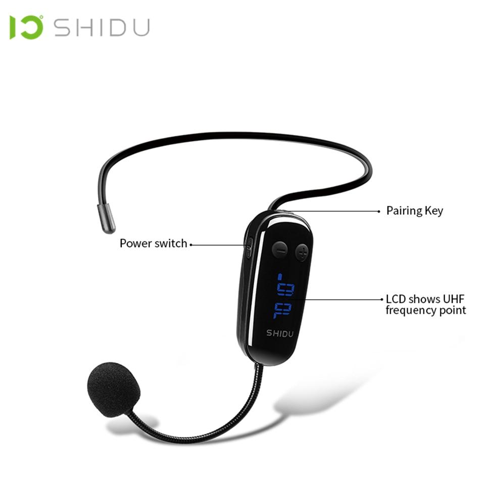 SHIDU 2 Em 1 Handheld Microfone Headset Sem Fio UHF Portátil 6.5mm Conector de MICROFONE Amplificador de Voz Changer Para Conferência U9
