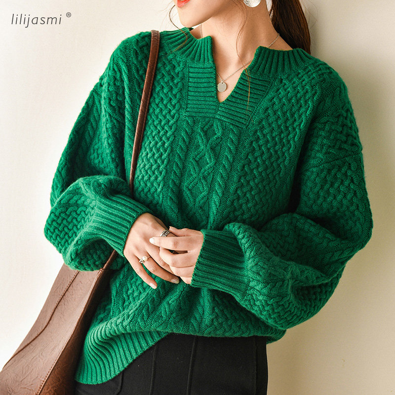 2019 Starting Women Cashmere V neck Allover Cable Knit Pullover Sweaters Thick Flexible Twist Soft Relaxed