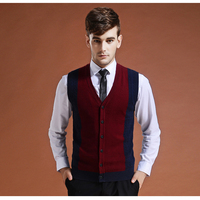 Men S Fashion Clothing New Contrasted V Neck Wool Sweater Pullover Tops For Autumn Winter Casual
