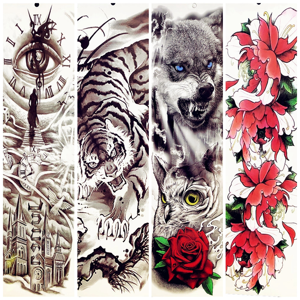 King of tiger wolf owl rose lotus flower temporary tattoo stickers king of tiger wolf owl rose lotus flower temporary tattoo stickers 48x17cm big body arm women men arm tatoo sleeve summer style in temporary tattoos from izmirmasajfo