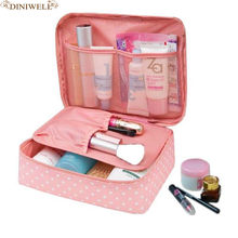 DINMIWELLWomen Makeup bag Cosmetic bag Case Make Up Organizer Toiletry Storage Rushed Floral Nylon Zipper New Travel Wash pouch(China)
