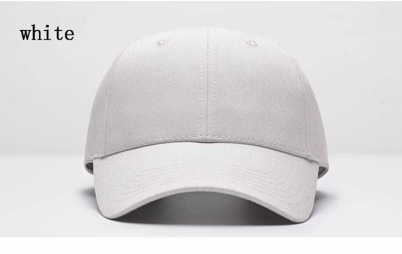 Solid Color Adjustable Baseball Cap - White Cap Front Angle View