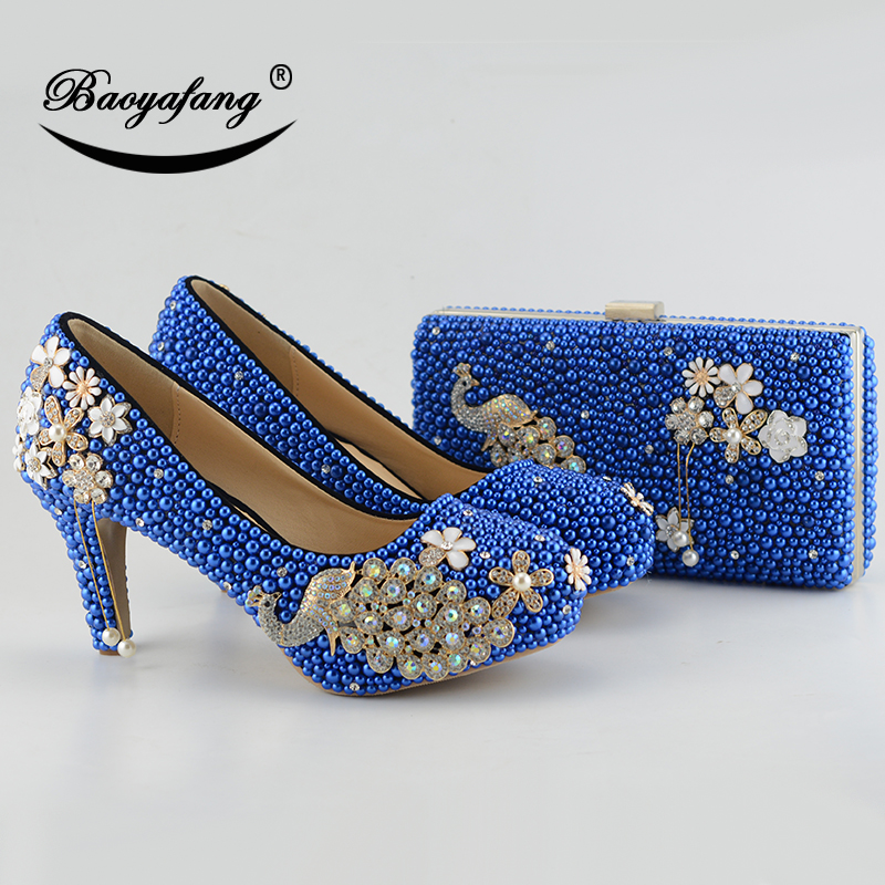 New Royal Blue pearl Women wedding shoes with matching bags bride High heels platform shoes Peacock