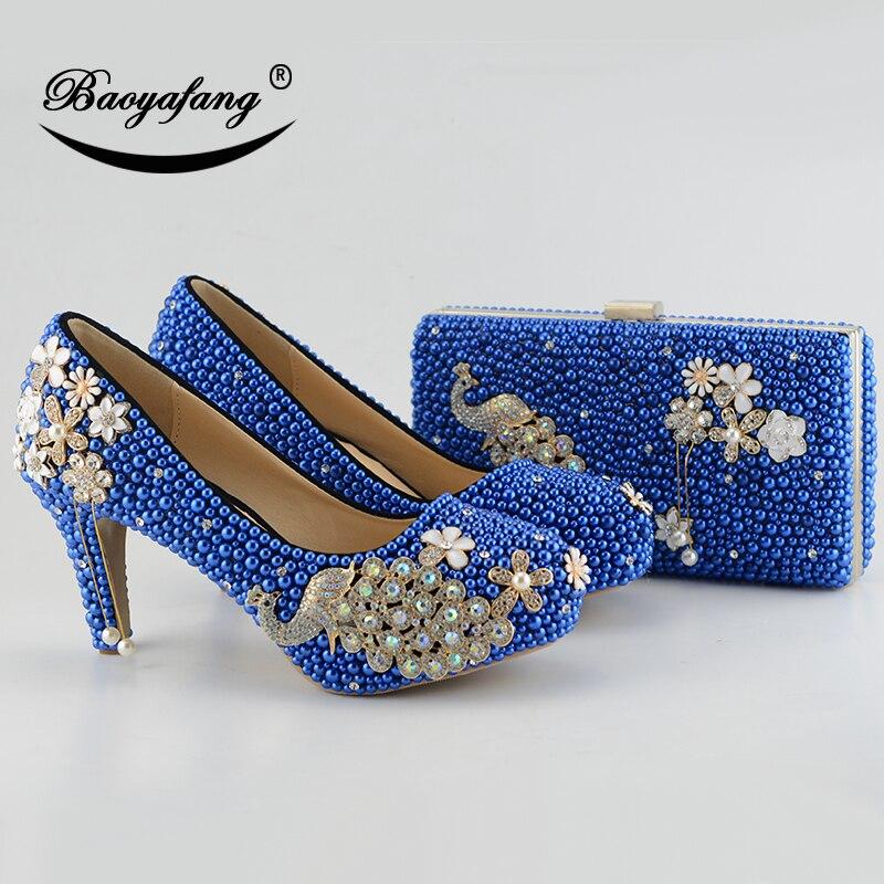 جديد الأزرق الملكي اللؤلؤ النساء الزفاف الأحذية مع مطابقة أكياس العروس عالية الكعب أحذية منصة الطاووس السيدات باتي حذاء وحقيبة مجموعة-في أحذية نسائية من أحذية على  مجموعة 1
