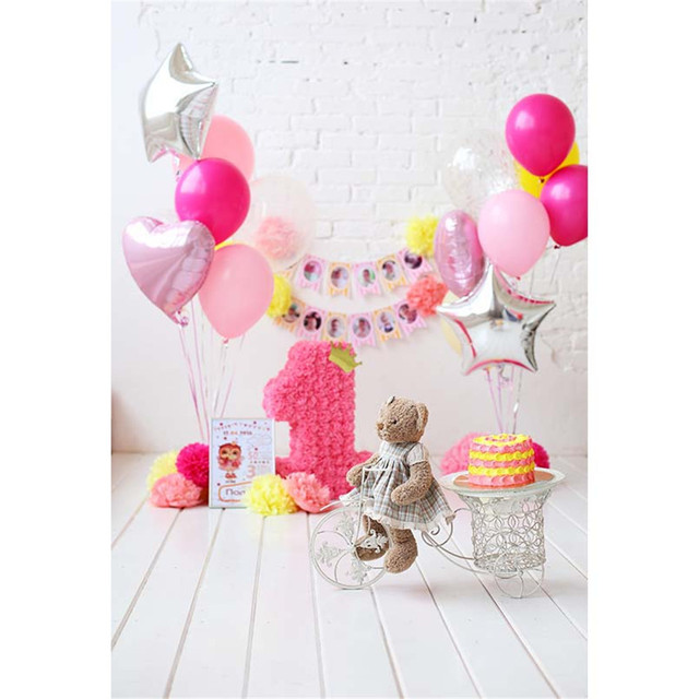 baby girl s 1st birthday photography backdrop white brick wall