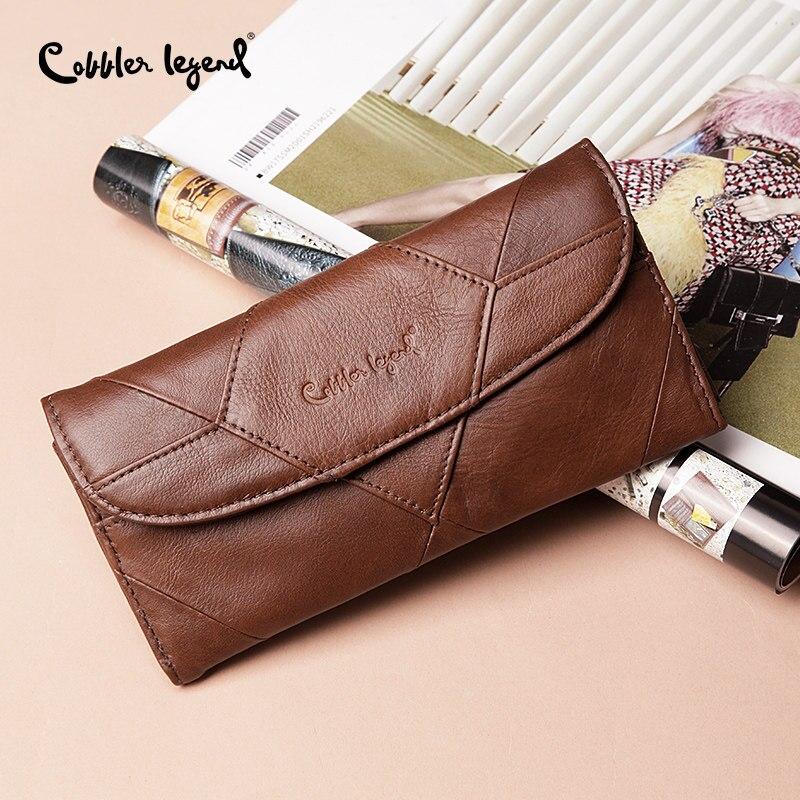 Cobbler Legend Genuine Leather Women Wallet Small Female Coins Purse Clutch Bag Designers Brand Long Wallet Slim Patchwork wallet