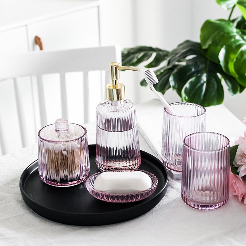 Ins Transparant pink glass bathroom set fashion household wash cup bathroom supplies kit toothbrush holder set image