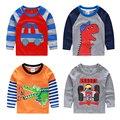 2017 criança 100% algodão menino criança longo-luva Camisetas dos desenhos animados car imprimir camiseta meninos primavera e no outono do bebê parte superior ocasional