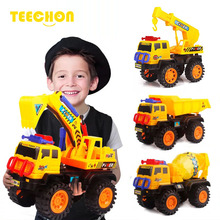 Free shipping The boy's inertial sliding engineering car large excavator, dump truck, crane, mixer model rc car