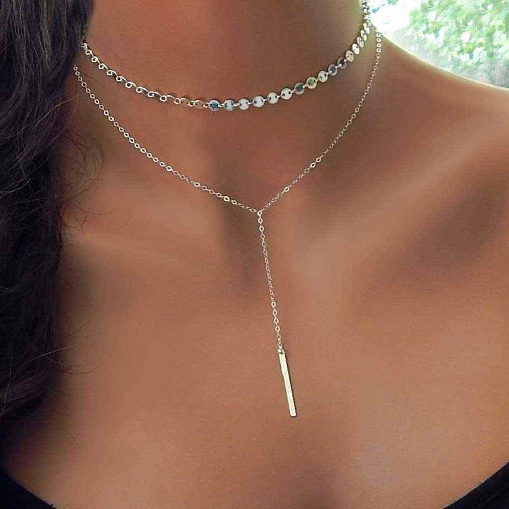 IPARAM 2019 Fashion Boho Coin Choker Layered 2 Necklace Set Y Lariat Silver Color Bar Pendant Necklace Girlfriend Gift