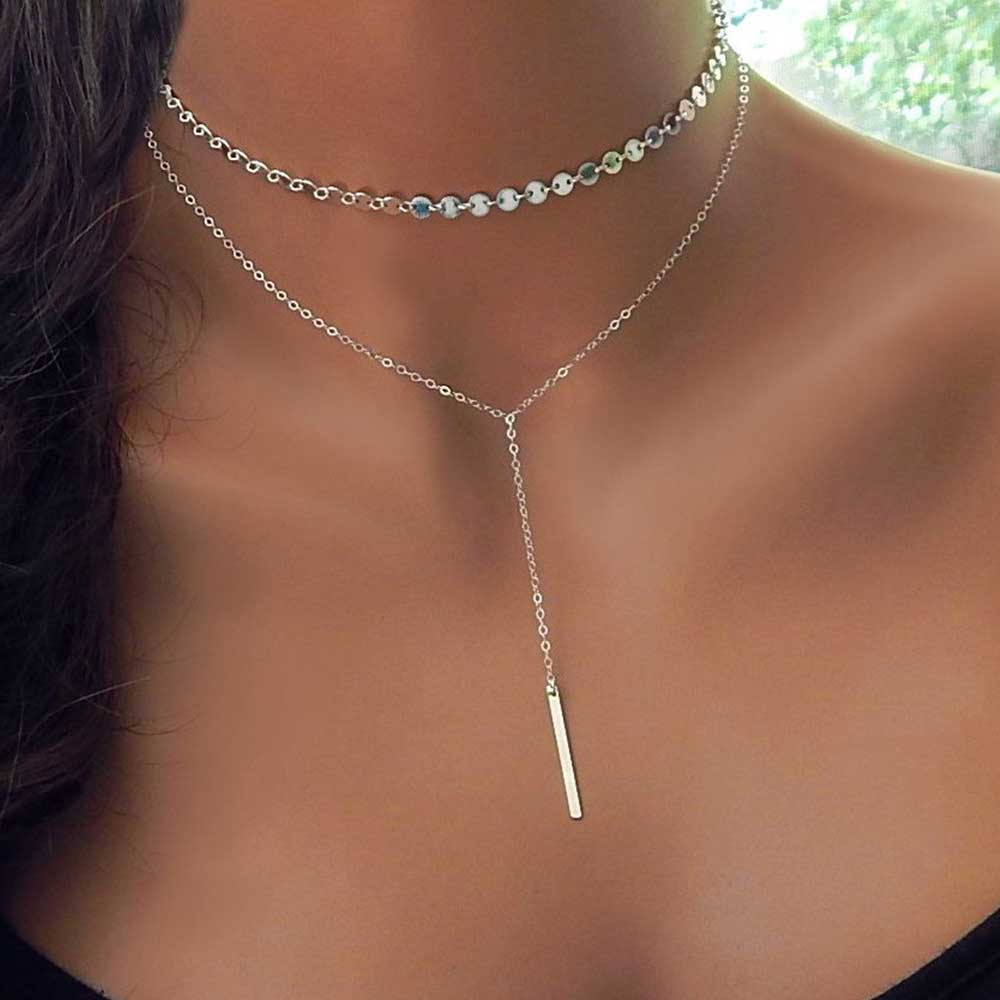 IPARAM 2020 модное Бохо монетное колье многослойное 2 ожерелье набор Y Лариат серебро цвет бар кулон ожерелье девушка подарок