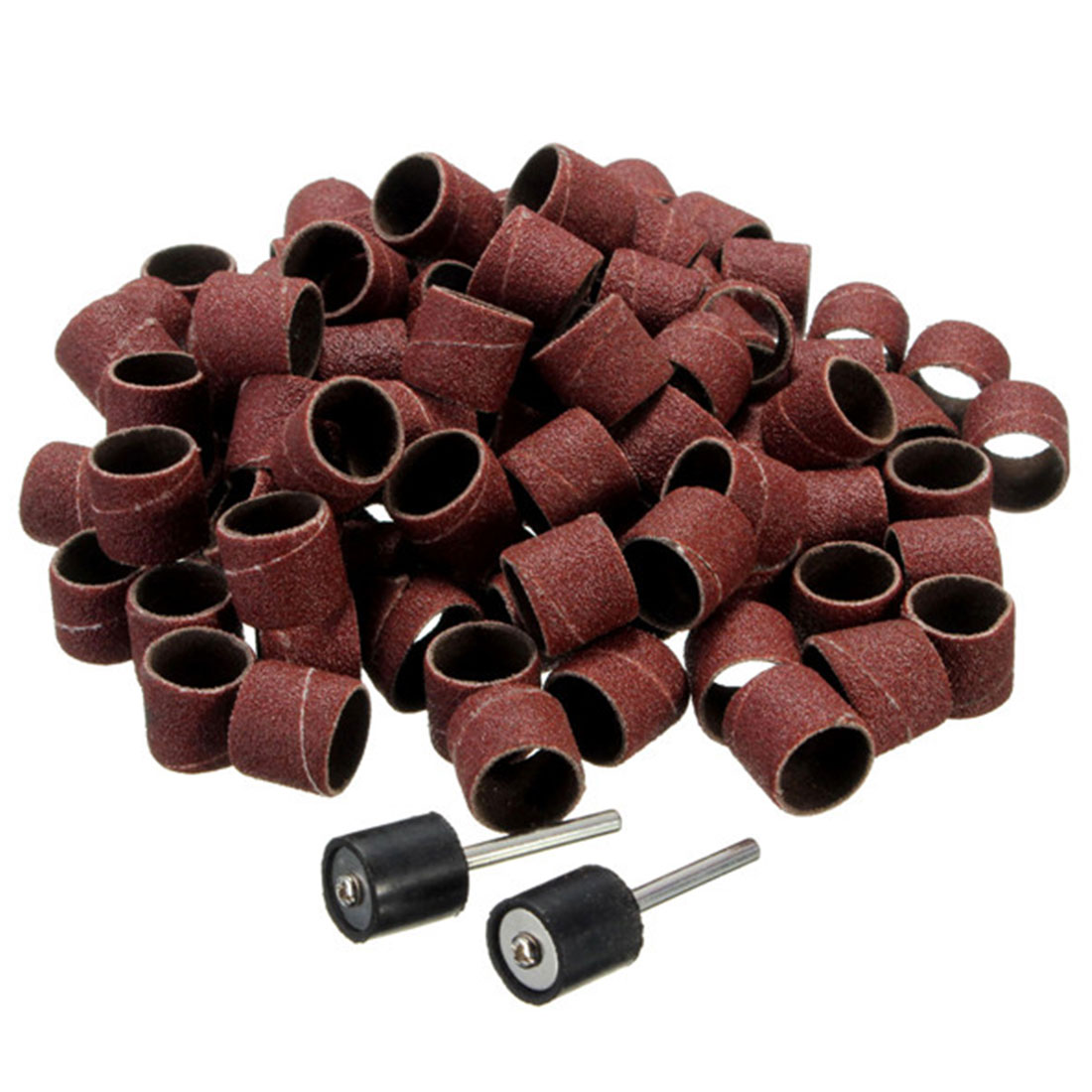 80# 9.5mm Drum Sanding Kit 100Pcs Sanding Band Dremel Accessories With 2Pcs 3.17mm Sand Mandrel For Grinding Tools