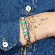 Позолоченные цветные cz бусины для дискотеки движущиеся бисером безопасный штыревой браслет браслеты великолепные шикарные женские модные радужные ювелирные изделия