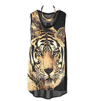 Retro Women Sleeveless Leopard Mini Dress Halter Tops Long Vest Shirt