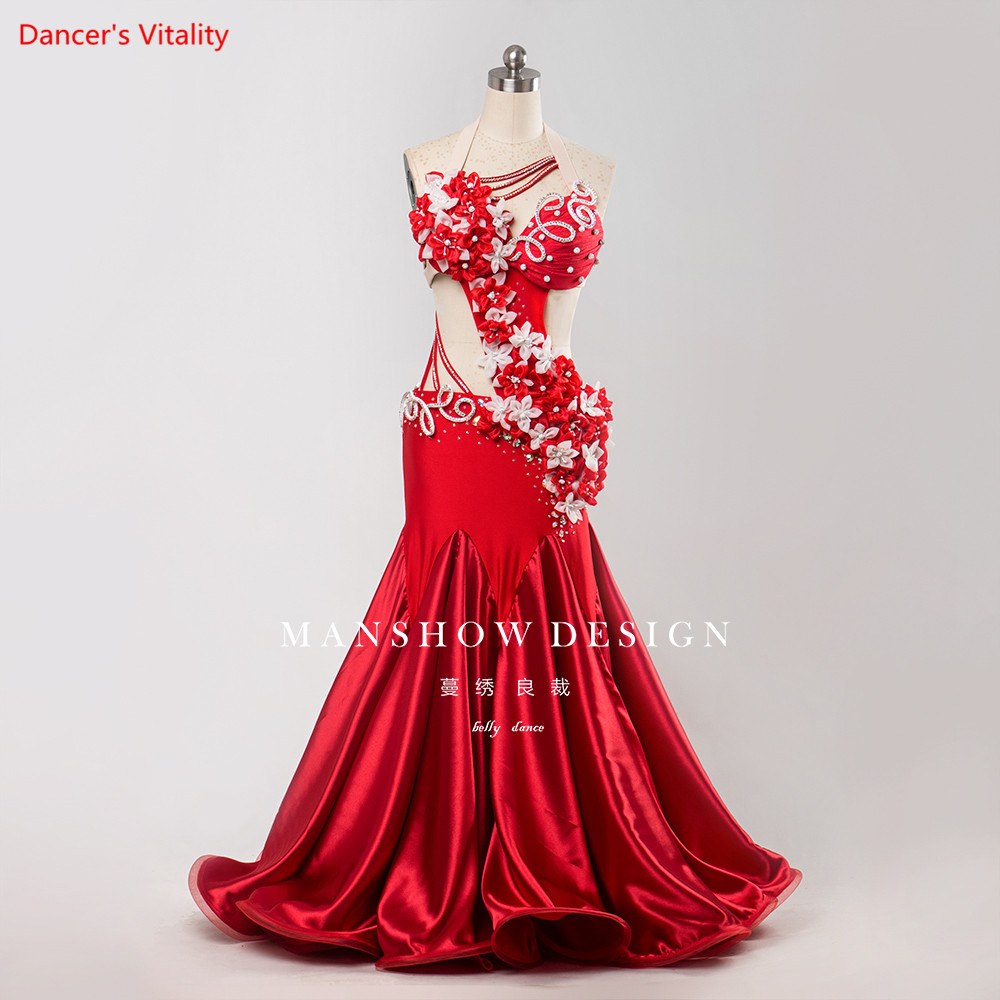 Professional Custom Made Luxury Belly Dance Costume New Modern Sexy Bra Long Skirt For Women Bellydance
