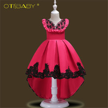 Flower Girls Dress Kids Princess Party Wedding Gowns for Children Graduation Ceremony Dresses Baby Kids Long Tail Formal Wears(China)