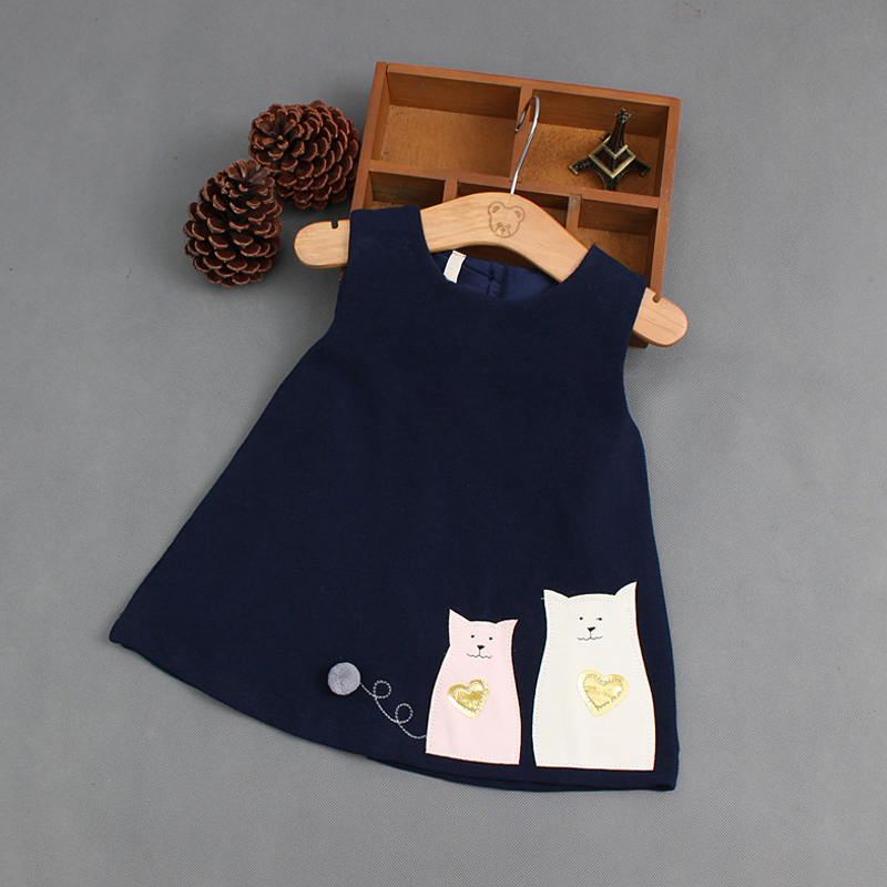 ba8a0d2d7fca Baby girl dress Autumn Summer Infant Cat printing Dress Girl Sleeveless  party 1 year girl baby birthday dress Baby Clothes-in Dresses from Mother    Kids on ...