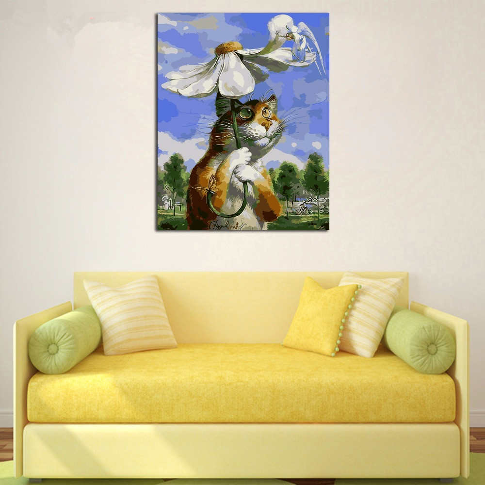 Framed Flower Cat Animals DIY Painting By Numbers Hand Painted Oil ...