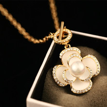 Black Flowers Famous Luxury Brand Designer Fashion Charm Jewelry Pearl Necklace 2017 New For Women