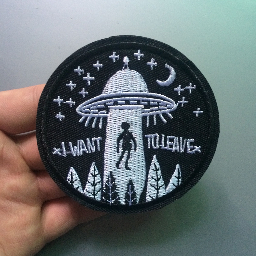 2018 Real Hot Sale Patches Para Roupas Parches Ufo Alien Flying Saucer Bordado Costurar Ferro No Remendo Emblema Saco Do Chapéu Applique Diy