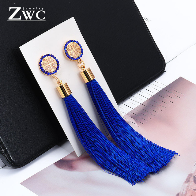 ZWC Vintage Fashion Charm Long Tassel Earrings for Women Girls Wedding Romance Bohemian Style Crystal Earrings Jewelry Wholesale
