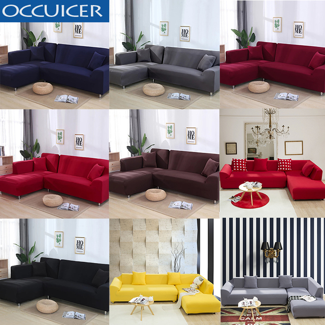 2 pcs Covers For L Shape Sofa Universal Stretch Fabric Solid Color Corner Couch  Elastic Anti-ash Decor Resistant Sofa Slipcover 1