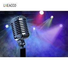 Laeacco Microfone Flash Musical Show Cena Backdrops Para Estúdio de Fotografia Fotografia Fundos Fotográficos Personalizados