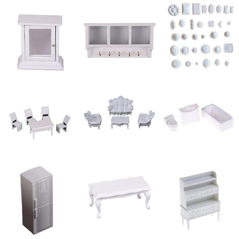 1 Set Weiß Möbel Schrank Tassen Kühlschrank Kühlschrank Bench Modell Für Puppenhaus Miniatur Küche Wohnzimmer Pretend Spielen Spielzeug Seien Sie Im Design Neu Möbel Spielzeug Pretend Spielen