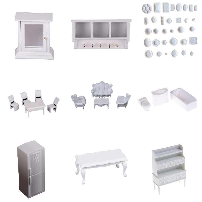 1Set White Furniture Cabinet Cups Fridge Refrigerator Bench Model For Dollhouse Miniature Kitchen Living Room Pretend Play Toy