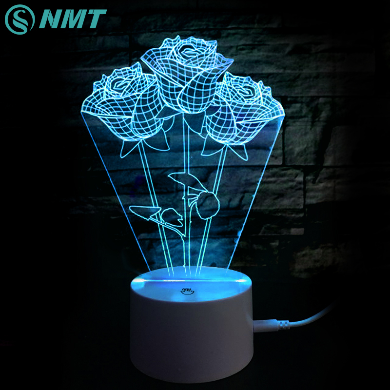 Novelty 3D Rose LED Night Light Atmosphere Desk Lamp Color Change Night Lamp for Home Decor Valentine's Day Girl Gift icoco usb rechargeable led magnetic foldable wooden book lamp night light desk lamp for christmas gift home decor s m l size