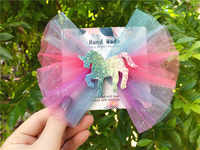 Boutique ins 10pcs Fashion Glitter Unicorn Big Bow Hairpins Solid Gradient Rainbow Bowknot Hair Clips Princess Hair Accessories