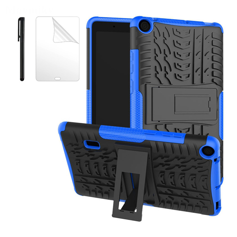 Hybrid Armor Kickstand Silicon Tablet Case For Huawei MediaPad T3 7 BG2-W09 Case 7.0 Inch WiFi Version Stand Funda+Film+Pen